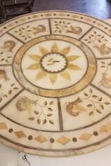 Restored antique alabaster intarsio table