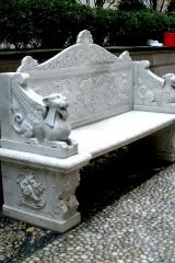 Restored antique marble garden bench