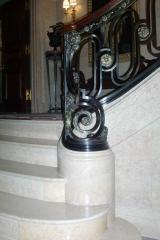 Finished marble ramp & twist newel